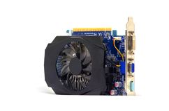 在白色背景的显示卡,个人计算机硬件 库存照片