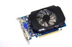 在白色背景的显示卡,个人计算机硬件 免版税库存照片