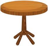 在白色背景的木圆桌 免版税图库摄影