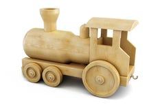 在白色背景的木机车 3d 皇族释放例证