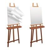 在白色背景的木画架 皇族释放例证