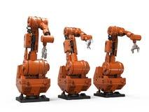 在白色背景的机器人胳膊 免版税库存照片