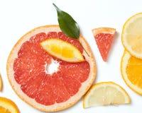 在白色背景的柑橘切片 库存照片