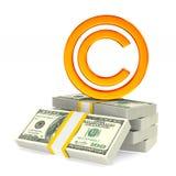 在白色背景的标志版权 被隔绝的3d例证 免版税图库摄影