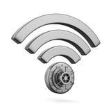 在白色背景的标志Wi-Fi 查出的3D 库存照片