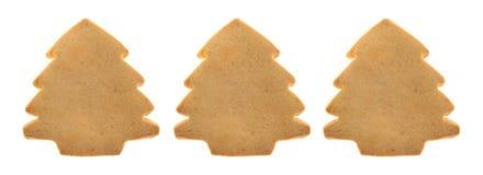 在白色背景的树型圣诞节曲奇饼 免版税图库摄影