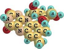 在白色背景的核黄素(B2)分子结构 免版税库存图片