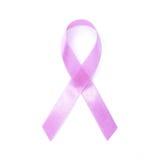 在白色背景的桃红色丝带乳腺癌 免版税库存照片
