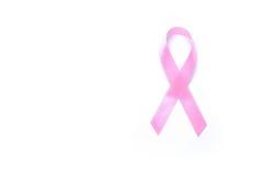 在白色背景的桃红色丝带乳腺癌 库存照片