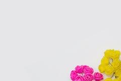 在白色背景的桃红色和黄色人为玫瑰 免版税库存照片