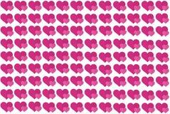 在白色背景的桃红色心形 心脏加点设计 能为文章,打印,例证目的,背景使用, 免版税库存照片