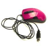 在白色背景的桃红色计算机老鼠 免版税图库摄影