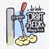 在白色背景的桶装啤酒轻拍泡沫泡沫饮料手拉的传染媒介设计 皇族释放例证