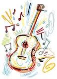 在白色背景的概略声学吉他 免版税库存照片