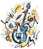 在白色背景的概略电吉他 免版税库存图片