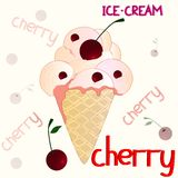 在白色背景的樱桃冰淇凌 库存图片