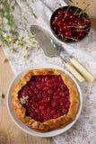 在白色背景的樱桃galette 库存图片