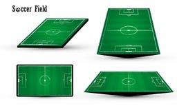 在白色背景的橄榄球足球绿色领域白垩chacoal线设计 免版税图库摄影