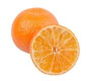 在白色背景的橙色切片 免版税库存图片