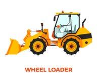 在白色背景的橙色轮子装载者建筑车 免版税图库摄影