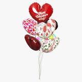 在白色背景的气球心脏 免版税库存照片