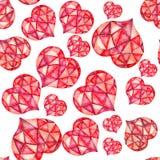 在白色背景的水彩玻璃几何心脏无缝的样式 免版税图库摄影