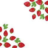 在白色背景的水彩绘画用草莓和蓝莓 库存例证