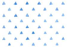 在白色背景的水彩蓝色三角样式,几何 免版税库存照片