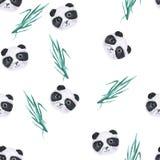 在白色背景的水彩逗人喜爱的熊猫无缝的样式 皇族释放例证