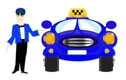 在白色背景的汽车夫出租汽车 库存图片