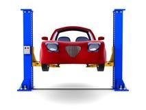 在白色背景的汽车服务 被隔绝的3d例证 免版税库存照片