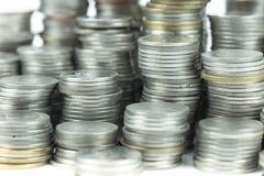 在白色背景的泰国浴硬币 图库摄影