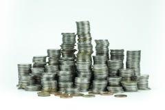 在白色背景的泰国浴硬币 免版税库存图片
