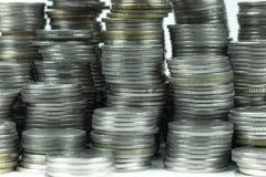 在白色背景的泰国浴硬币 库存照片