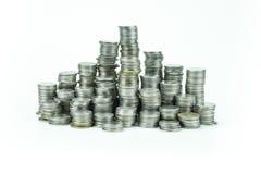在白色背景的泰国浴硬币 免版税库存照片