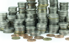 在白色背景的泰国浴硬币 库存图片