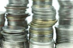 在白色背景的泰国浴硬币 免版税图库摄影