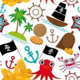 在白色背景的海洋无缝的海盗样式 库存图片