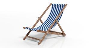 在白色背景的海滩睡椅 3d例证 免版税库存照片