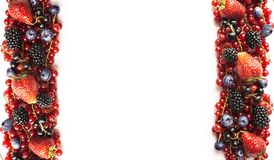 在白色背景的混合莓果 成熟红浆果,草莓,黑莓,蓝莓,在白色背景的黑醋栗 免版税库存照片