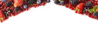 在白色背景的混合莓果 成熟红浆果,草莓,黑莓,蓝莓,在白色背景的黑醋栗 库存照片