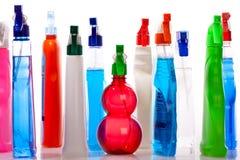 在白色背景的清洁物品瓶 库存照片
