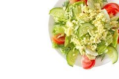 在白色背景的清淡的夏天沙拉 免版税库存图片