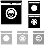 在白色背景的灰色和黑洗衣机 库存照片