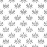 在白色背景的灰色花卉无缝的装饰品 库存照片