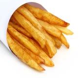 在白色背景的炸薯条 免版税库存图片