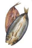 在白色背景的烟熏鲱鱼 免版税库存图片