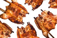 在白色背景的烤鸡样式 免版税库存图片