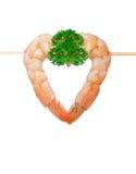 在白色背景的煮熟的虾 免版税图库摄影
