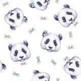 在白色背景的熊猫 无缝的模式 画开花的河结构树水彩绕的银行 儿童例证s 手工 库存图片
